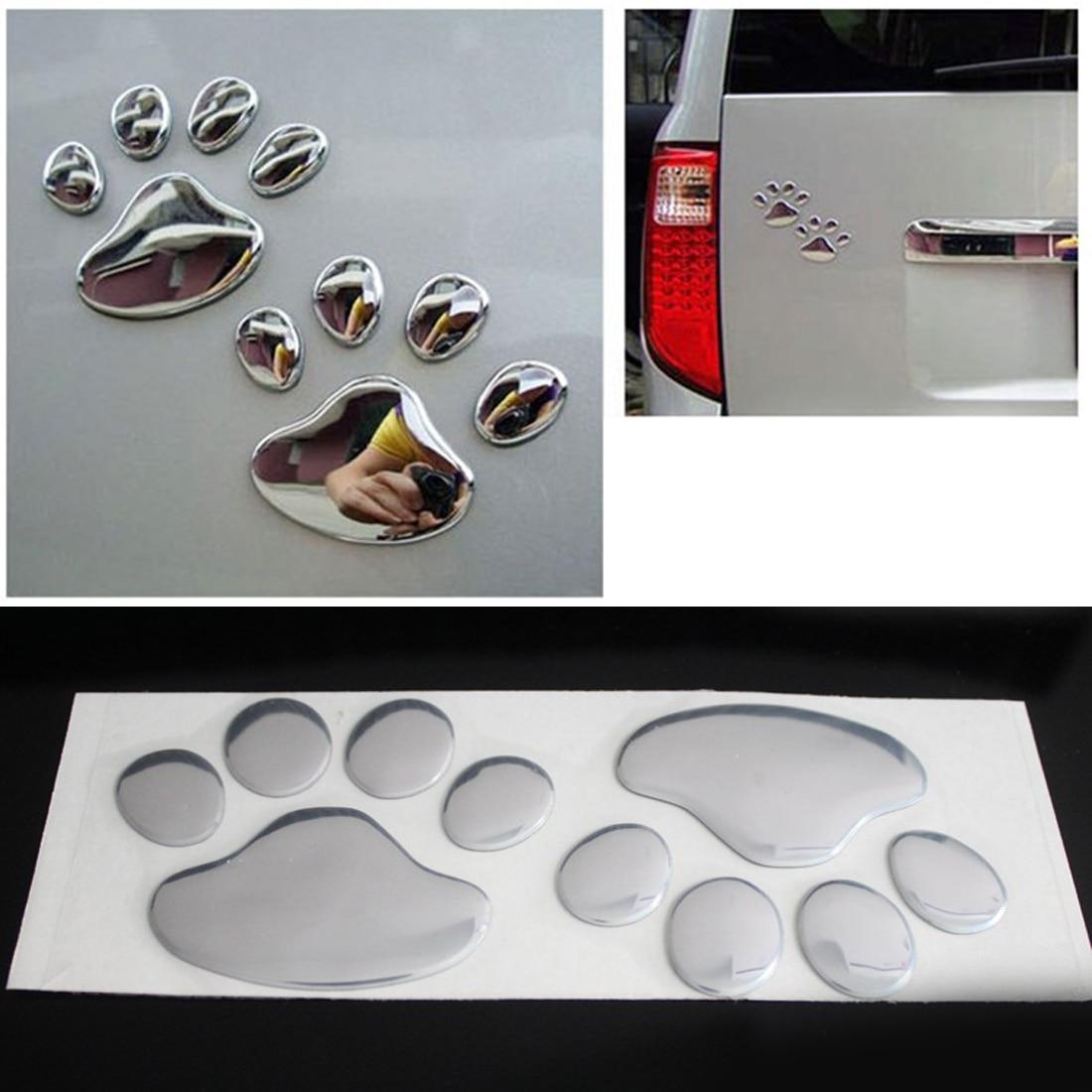 Dewtreetali Car Sticker Cool Design Paw  3D Animal Dog Cat Bear Foot Prints Footprint 3M Decal Car Stickers  Silver Gold Red Bla