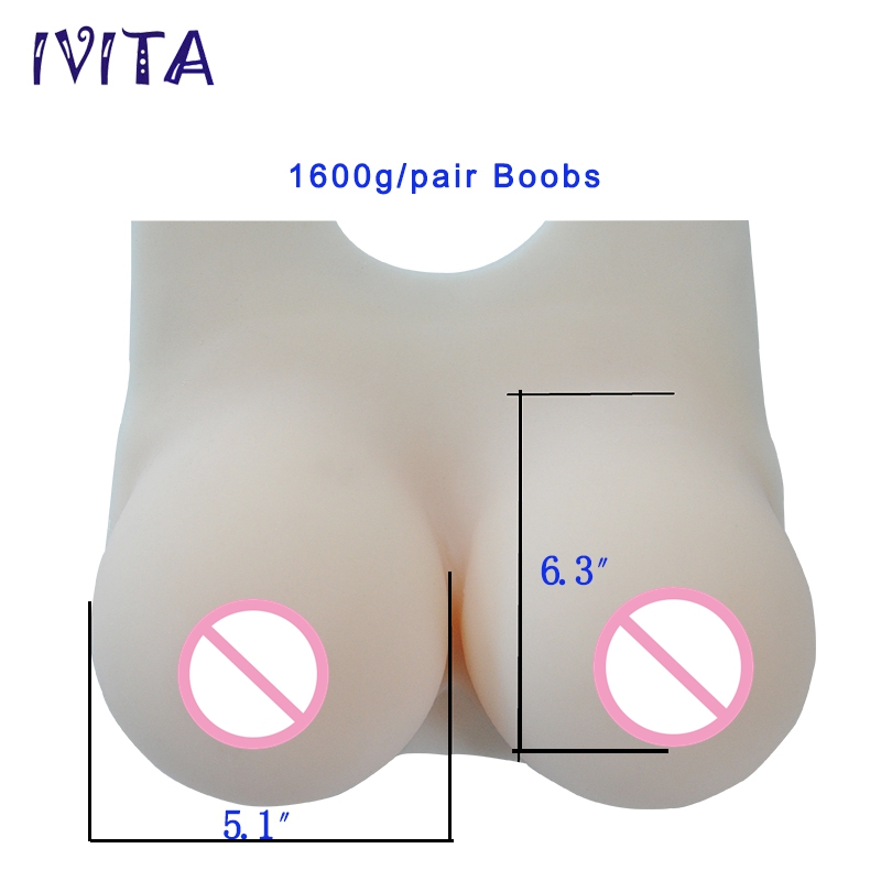 IVITA 1600g Artifical Silicone Breast Forms Fake Breast Boobs For Crossdresser Transgender Shemale Drag-Queen Enhancer