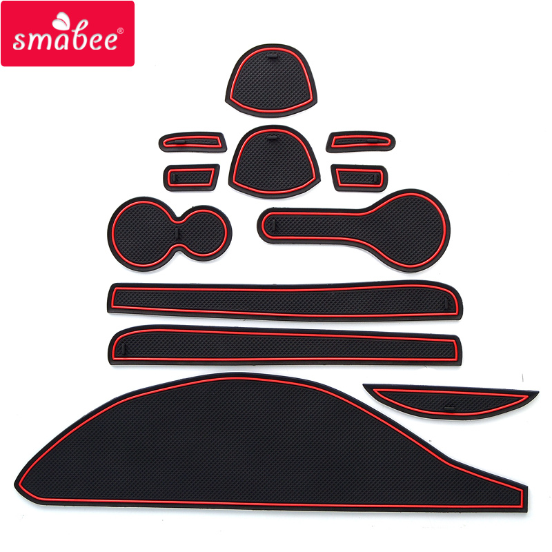 Smabee Gate Slot Pad  For NISSAN CUBE Z12  Interior Door Pad/Cup Non-slip Mats Red  White 12pcs