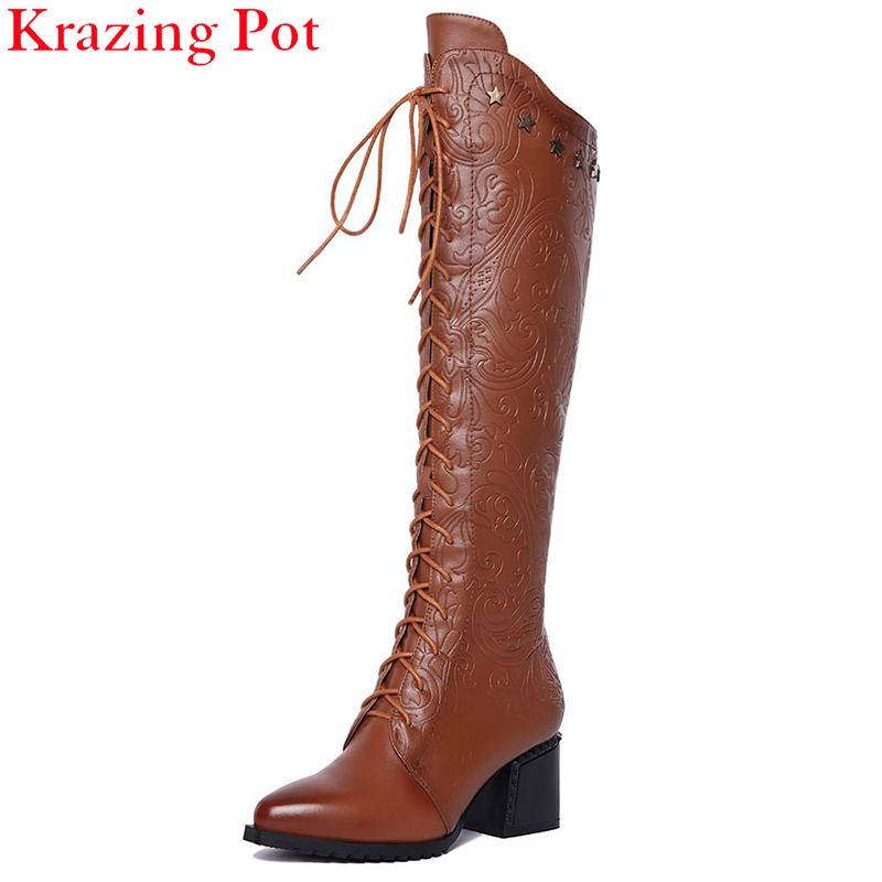 цены  2018 Fashion Large Size Superstar Lace-up Knee-high Boots Print Brand Winter Shoes Pointed Toe Woman Boots Warm Causal Boots L