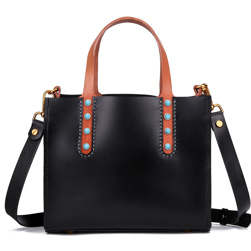 Women's new fashion hand-stitched suede leather tote bag Inlay retro personality cross-section square leather shoulder bag the new unique personality hit color sheepskin women s leather bag pattern cross section square hand woven handbag