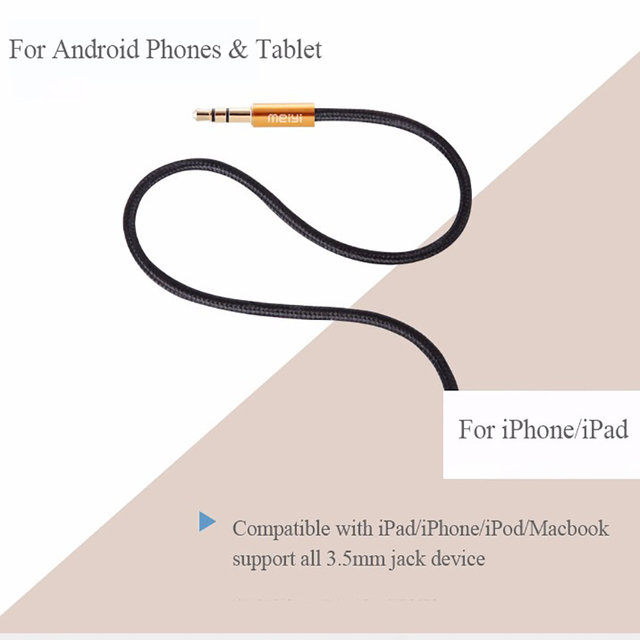 MEIYI 3.5 mm Jack Aux Audio Cable Male to Male Car Aux Cable Gold Plated Auxiliary Cable for Car / iPhones / Media Players 4