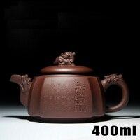 Аутентичные Исин Zisha мастеров ручной работы Чай горшок фиолетовый глиняный горшок 400 мл Чай заварки Керамика коллекция фарфора драгоценные