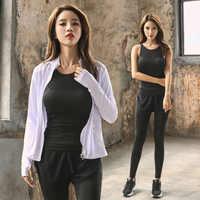 3 pièces femme sport survêtement course ensemble minceur veste à glissière + strapy TankTop + skorts entraînement Gym Fitness costume vêtements femmes