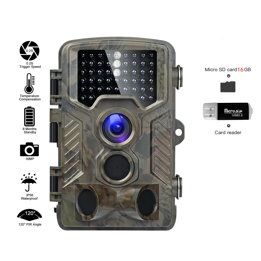 Hunting Trail Camera Full HD 16MP 1080P Video Night Vision Infrared HC800A IR Photo Traps Wild Cameras Micro SD Card  ReaderHunting Trail Camera Full HD 16MP 1080P Video Night Vision Infrared HC800A IR Photo Traps Wild Cameras Micro SD Card  Reader