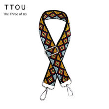 TTOU Handbags Strap National Plaid Design Polyester Shoulder Bag Straps New Fashion Easy Matching Shoulder Straps(China)