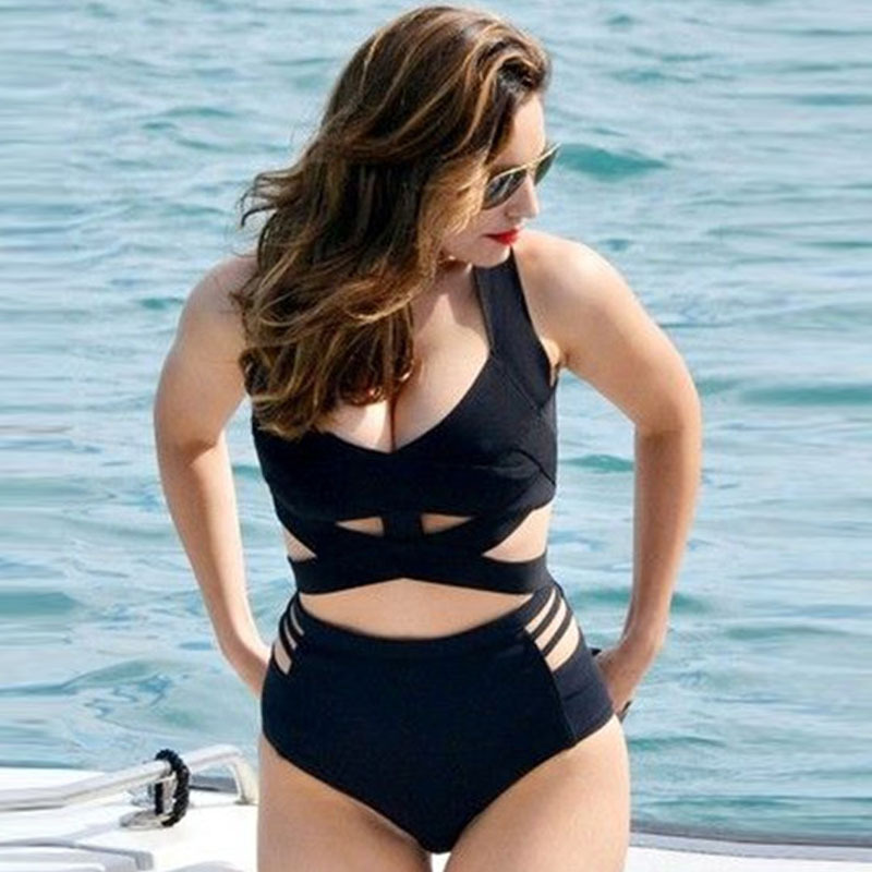 870284dc8bc2 Plus Size High Waisted Bikini Set Womens Hot BlackPush Up Padded Cup Swimsuit  Ladies' Sexy Cut out Swimwear Bodysuit Gifts. 1 order