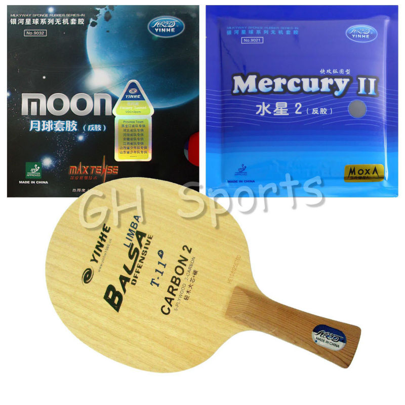 Pro Table Tennis PingPong Combo Racket YINHE Galaxy T-11+ with Moon Factory Tuned and Mercury II Shakehand  long handle   FL pro table tennis pingpong combo racket galaxy yinhe t 11 with sun and moon factory tuned