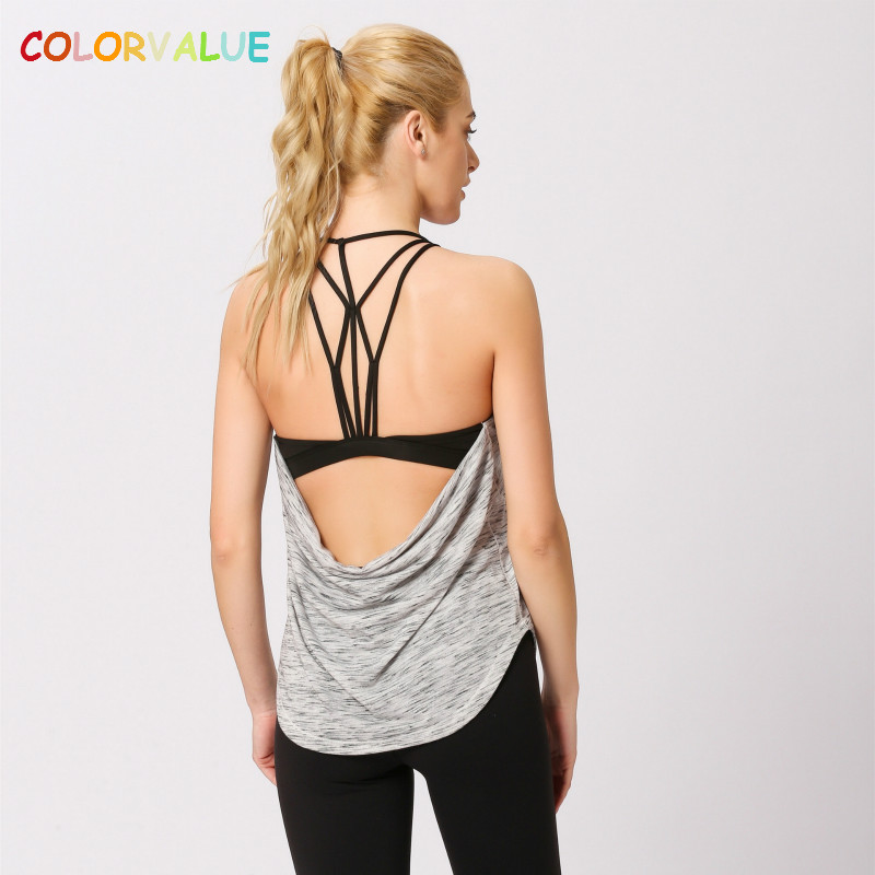 Colorvalue New Built-in Bra Sport Fitness Vest Women Sexy Backless Yoga Workout Tank Tops Loose Fit Padded Gym Running Vest S-XL цена