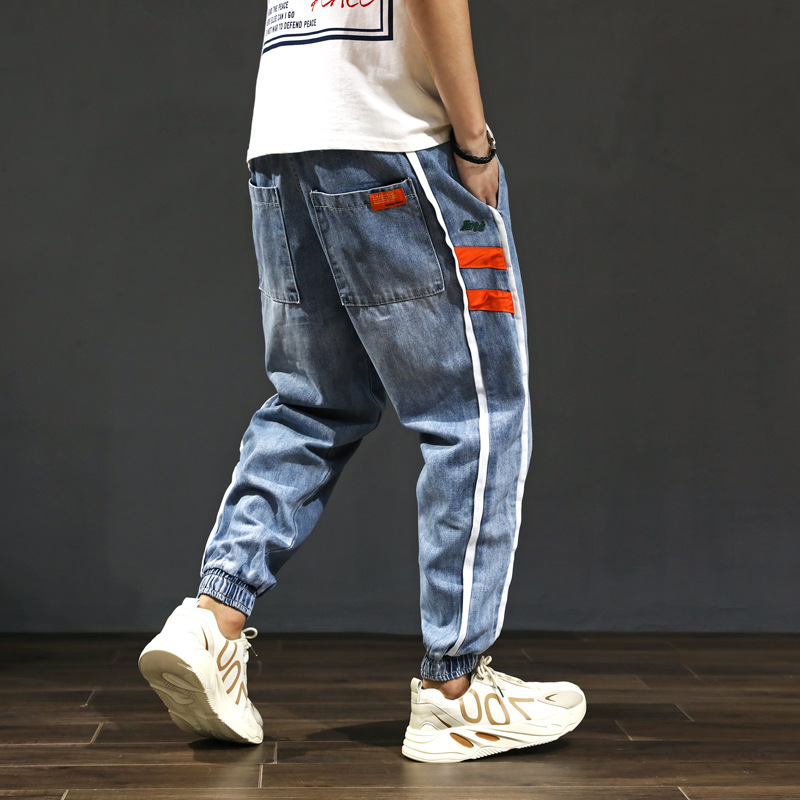 Fashion Streetwear Men Jeans Blue Color Loose Fit Side Stripe Spliced Harem Jeans Men Cargo Pants Slack Bottom Hip Hop Joggers