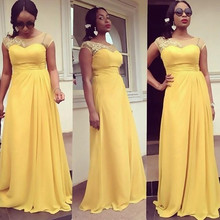 Plus Size Long Bridesmaid Dresses 2016 Yellow Chiffon Arabic Appliques Wedding Party Gowns Cap Sleeves Maid of Honor Gow