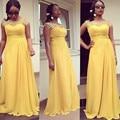 Plus Size Longos Vestidos de Dama de honra 2016 Chiffon Amarelo Árabe Apliques Vestidos de Festa de Casamento Mangas Dama de Honra Gow