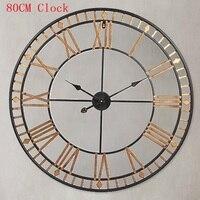 80 см большие настенные часы duvar saati римские цифры полые настенные часы Металлические Klok Horloge Мураль часы Wandklok