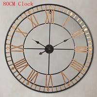 80CM Large Wall Clock Saat Reloj Clock Duvar Saati Roman numerals Hollow Wall Clocks Metal Klok Horloge Murale Watch Wandklok