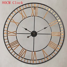 80CM Large Wall Clock Saat Reloj Clock Duvar Saati Roman numerals Hollow Wall Clocks Metal Klok