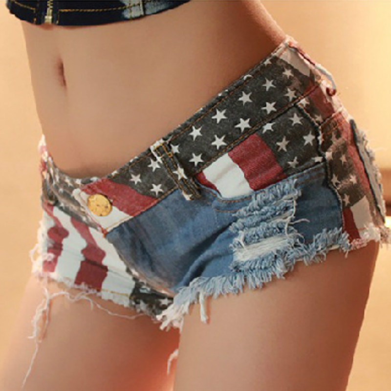 Summer Womens Denim Shorts Europe and America Style Start USA Flag Pattern Nightclubs Holes Ripped Sexy Hot Pants S-XXL