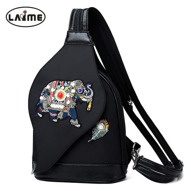 Fashion Crystal Diamond Elephant Pattern Women Chest Bag High Quality Waterproof Nylon Shoulder Bag Zipper Straps Design Handbag