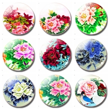 Flower Lover 30MM Fridge Magnet Art Painting Pattern Tree Glass Dome Magnetic Refrigerator Sticker Note Holder Home Decor