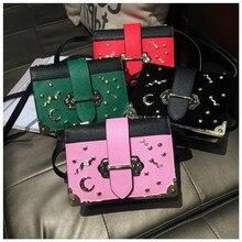 Fashion female shoulder bag metal star moon moon shape handbag high quality leather women messenger bag
