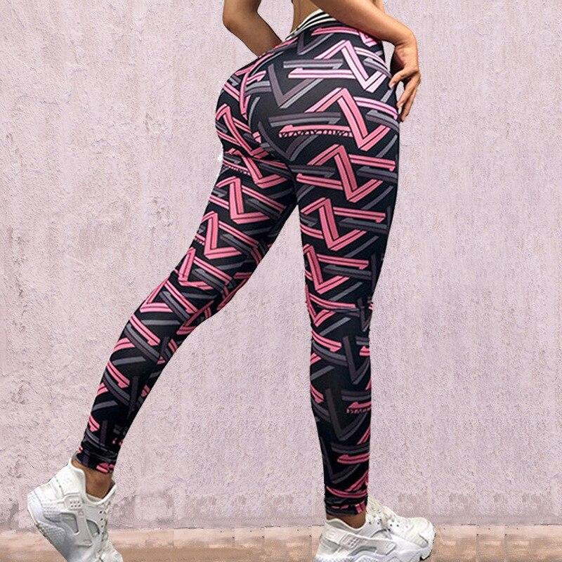 2019 New Flower print Leggings Women High waist Legins Work Out Sporting Slim Purple woven print Trousers Fitness Leggins ZSIIBO 2