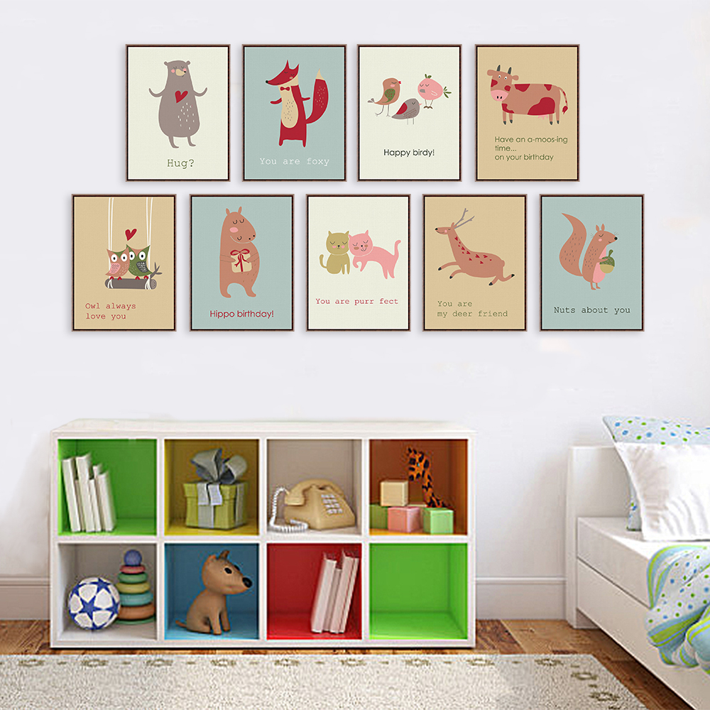 Nordic kawaii animals deer bear art prints poster funny quotes wall pictures canvas painting no for Canvas prints childrens bedrooms