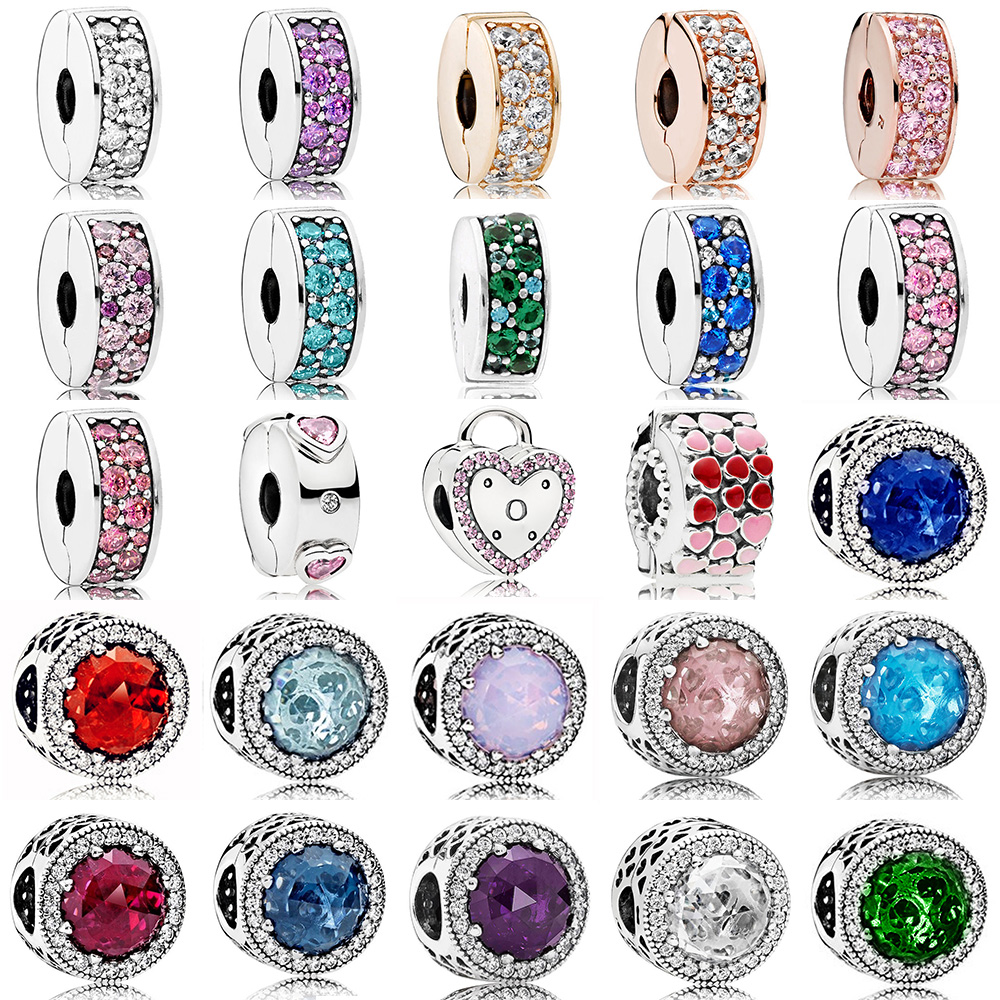 2018 NEWEST 100% 925 Sterling Silver Clip Charm Radiant Hearts Multicolor Clear Cz Rose Gold Bead Fit DIY Bracelet Wholesale top quality bright mint enamel clear cz radiant hearts of pan bangle fit europe bracelet 925 sterling silver bead charm jewelry