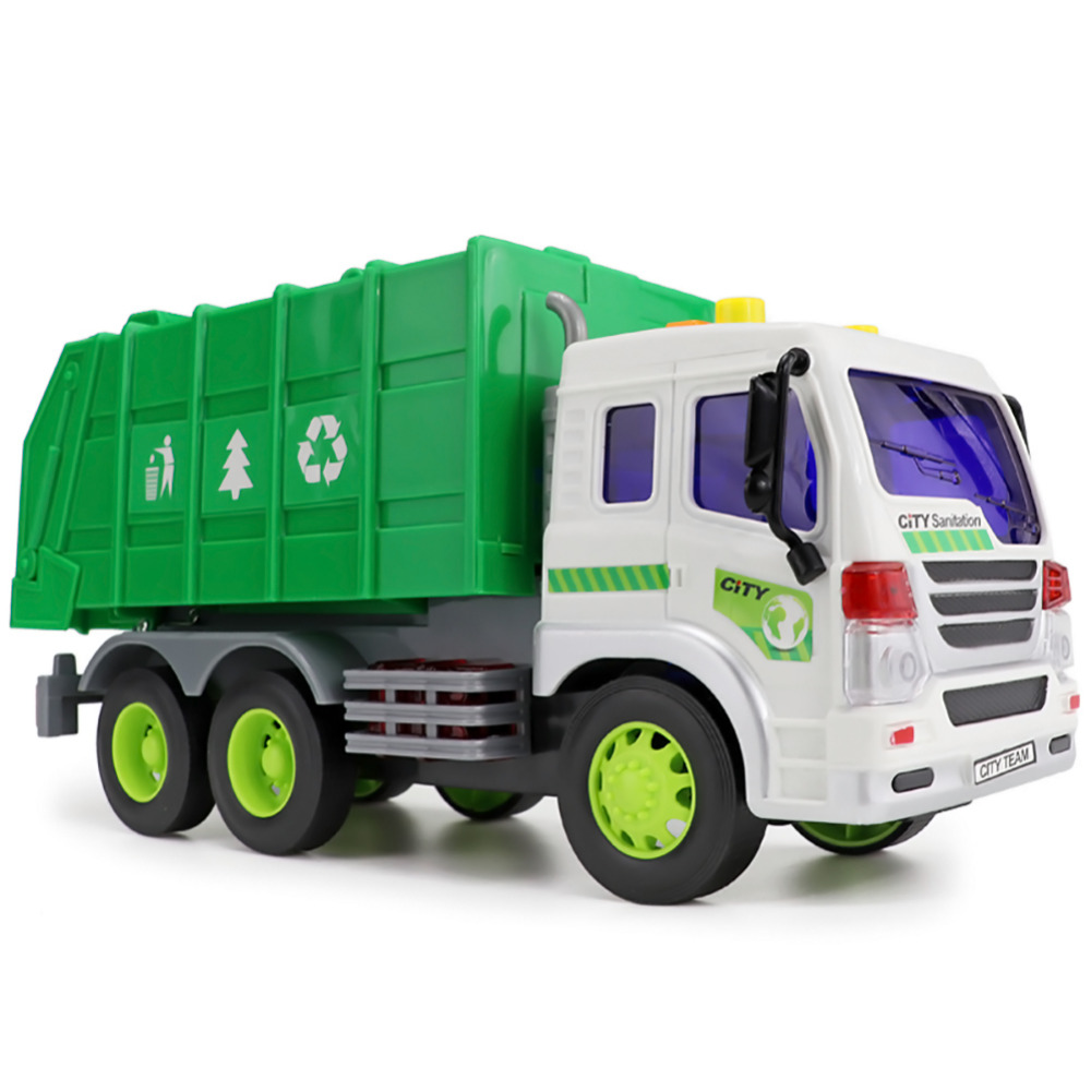 Kids Truck Model Toys Simulation Engineering Vehicles Garbage Trucks Dumpers with Inertia (with Sound and Light) for Children