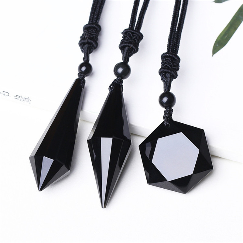 Drop shipping Black Obsidian Pendant Necklace Obsidian Star Pendant Lucky Love Crystal Jewelry With Free Rope Healing Reiki Gift
