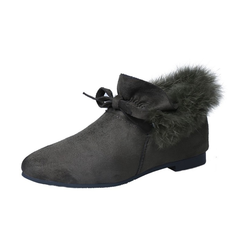 COOTELILI  Women Boots Winter Autumn Ankle Boots For Women Boots Slip On Real Fur Rubber Flat Boots Ladies Women Shoes 35-.39 (12)