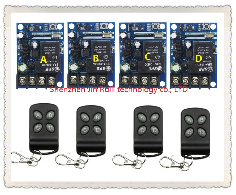 New DC12--48V 1CH 10A RF Wireless Remote Control Switch System 4 transmitter & 4 receiver relay Receiver Smart Home Switch 12pcs rf wireless 220v 10a 1ch remote control switch 4 receiver