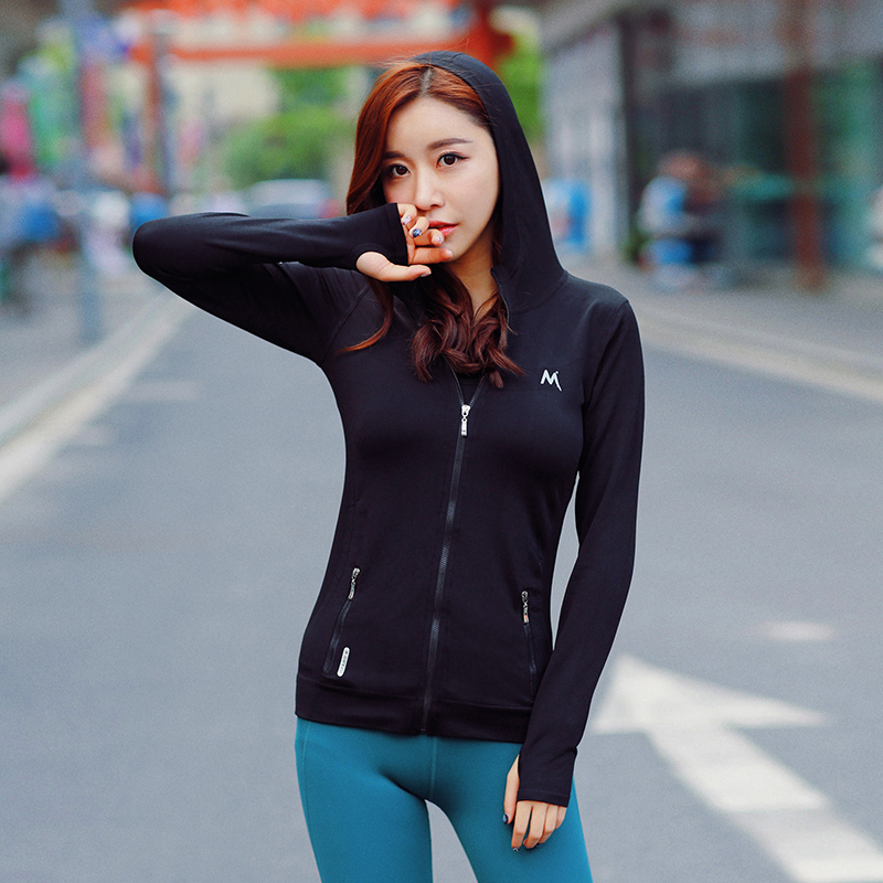 High Quality Women Yoga Shirts Slim Fitness Female Sports Jacket Hoodies  Outdoor Running Workout Ladies Zipper Clothes Yoga Tops 3758af0f2f79