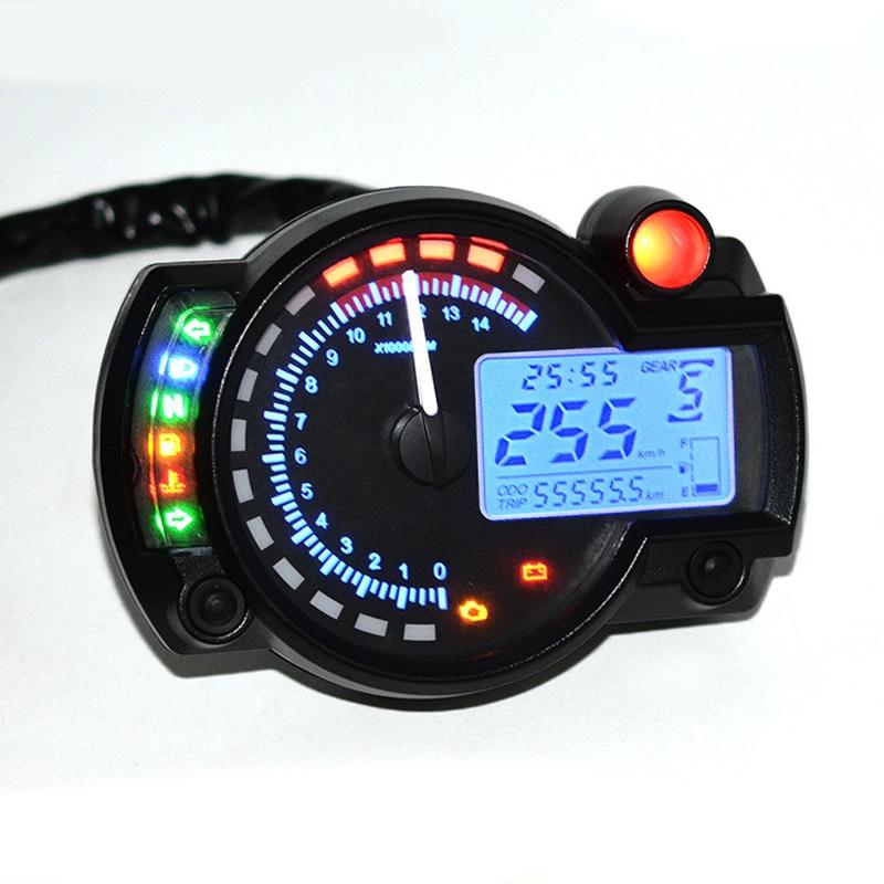 Универсальный 7-цветный дисплей, цифровой спидометр для мотоцикла, ЖК-дисплей, спидометр, тахометр, одометр, регулируемый инструмент r25