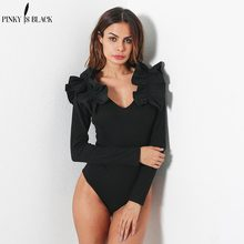 Pinky Is Black Ruffle v neck knitting bodysuit women Sexy 2019 autumn femme jumpsuit romper short overalls knitted playsuit