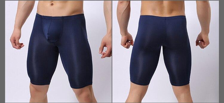 Сексуальный мужской мешочек нижнее белье длинные ноги боксер короткие леггинсы белый черный телесный темно-синий шелковистый Гладкий