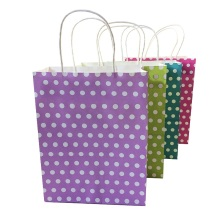 10pcs/lot Dot Colorful Paper Bag With Handle 27*21*11cm Party Gift Package Bags Environmental Protection Candy Decoration
