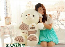 lovely plush brown stripes bear toy stuffed teddy bear toy hold cute heart gift doll about 90cm