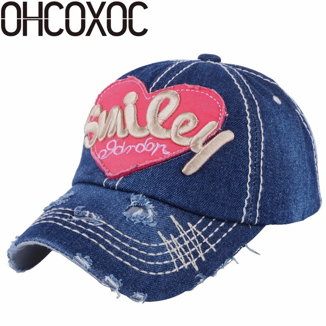 c4d64a7facc9bf OHCOXOC new design women girl cute baseball cap hat character heart pattern denim  cotton outdoor beauty