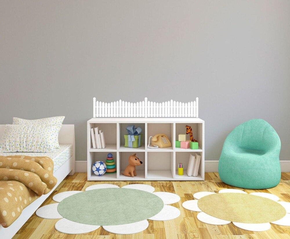White Picket Fence Pattern Stencil Glue Vinyl Wall Stickers For Nurseries Kindergarten Interior Decor Free Ship In From Home Garden On