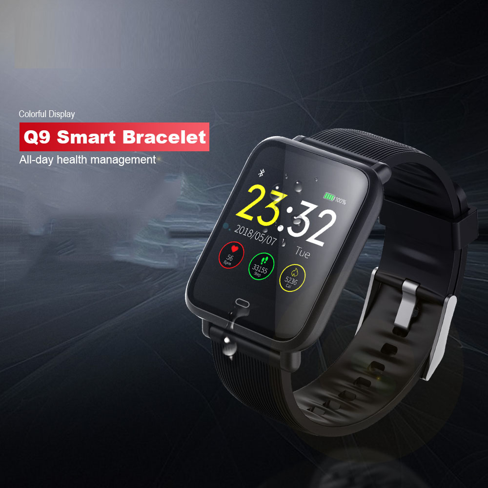 Q9 Blood Pressure Heart Rate Monitor Smart Watch IP67 Waterproof Sport Fitness Trakcer Watch Men Women Smartwatch-in Smart Watches from Consumer Electronics