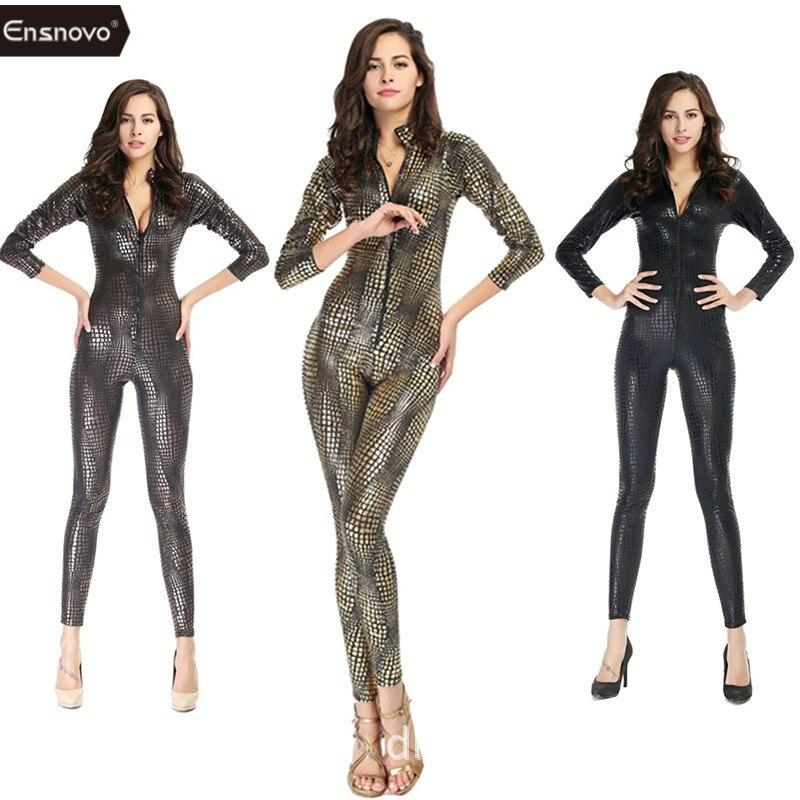 все цены на Ensnovo One Piece Shiny Metallic Snake Catsuit Zentai Costume Long Sleeve Front Zipper Bodysuit Snakeskin Unitard Full Body Suit