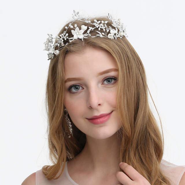 0d6e8dbff9ddc Wedding Headband Tiaras Enchanted Porcelain Blossom Women Hair Wisp ...