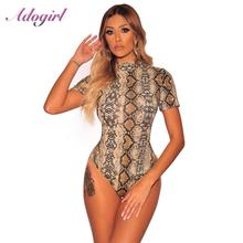 Adogirl Sexy Snake Print Short Sleeve Bodysuit Women Casual Streetwear Club Party Jumpsuit Female Outfit Romper Ladies Body Tops