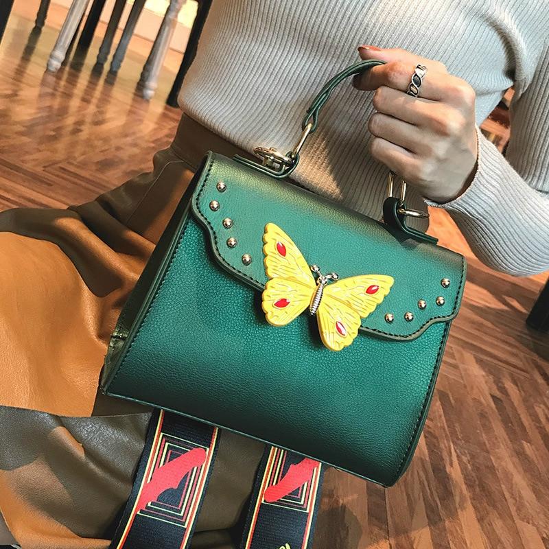 High Quality PU Leather Women Crossbody Bags Fashion Design Butterfly Hasp Women Shoulder Bags Shoulder Strap Ladies Handbags