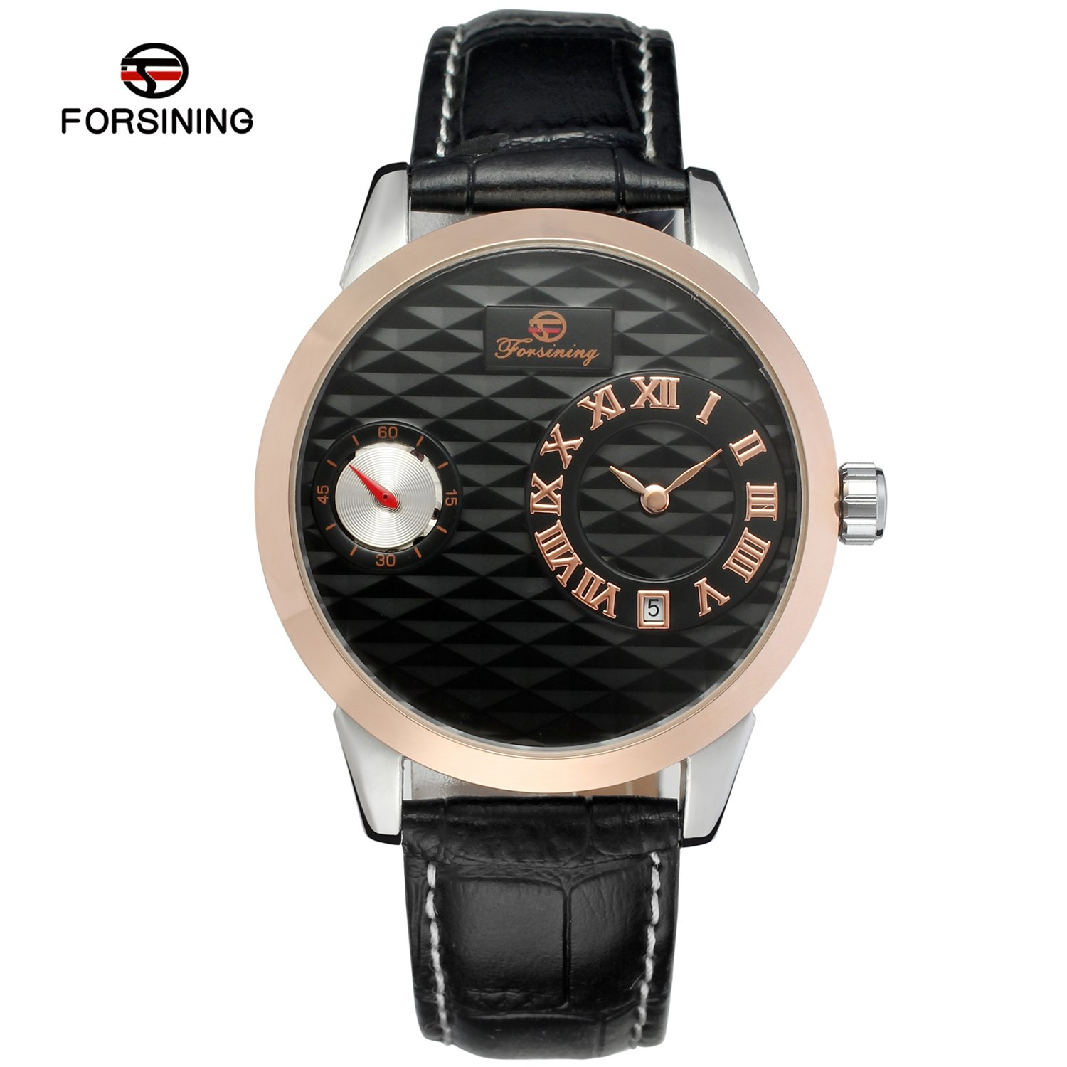 Forsining Rose Gold Small Roman Dial Business Automatic Mechanical Wristwatch Men Leather Band Casual Calendar Dress Watches