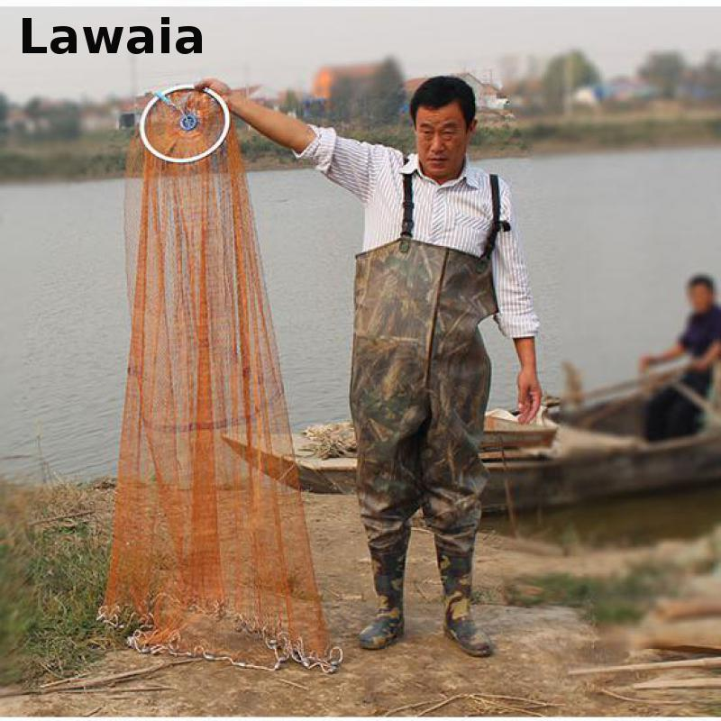 Lawaia Fishing Net Diamter 2.4M-7.2M High Quality Sports Hand Throw Fishing Net American Style Cast Network With Sinkers все цены