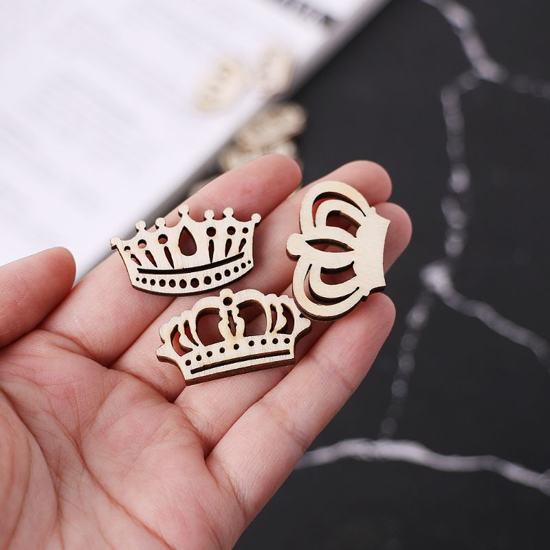 25pcs Laser Cut Wood Embellishment Wooden Crown Shape Craft Wedding Decor