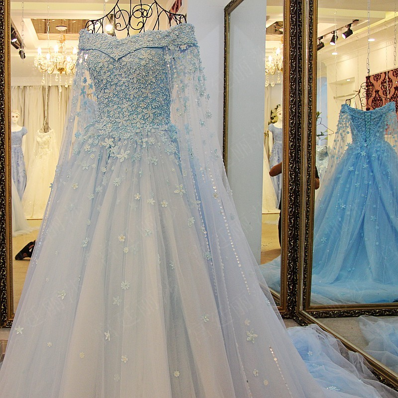 Buy 2017 luxury sky blue wedding dresses for Blue lace wedding dress