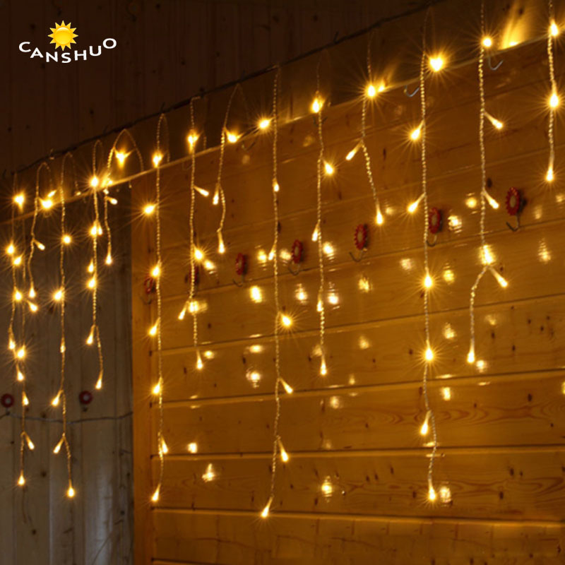 все цены на New 3.5M droop 0.6M 0.5M 0.4M 96leds Led Curtain Icicle String Lights Led Fairy Light for Christmas Wedding Party Decoration онлайн