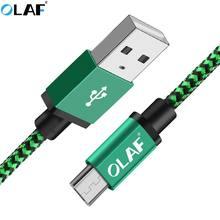 Olaf micro cabo usb 2m 3m náilon trançado carregamento rápido carregador de dados cabo para samsung huawei xiaomi android microusb telefone cabo