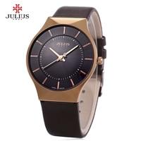 Top Luxury Brand JULIUS Watches Men Leather Strap Quartz Watch Ultrathin Dial Clock Wristwatches Men S